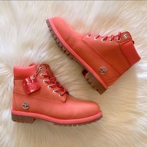 Girls Pink Timberlands 6 inch Waterproof Boots